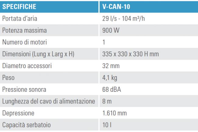 Scheda tecnica Tennant V-CAN-10